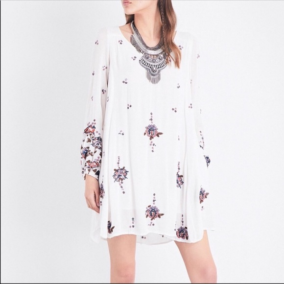Free People Dresses & Skirts - Free People White Embroidered Oxford Mini Dress S